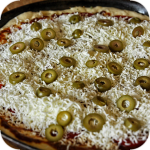 Greek pizza with feta cheese