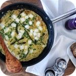 Omelette with asparagus and feta cheese
