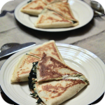Pancakes stuffed with spinach and feta cheese